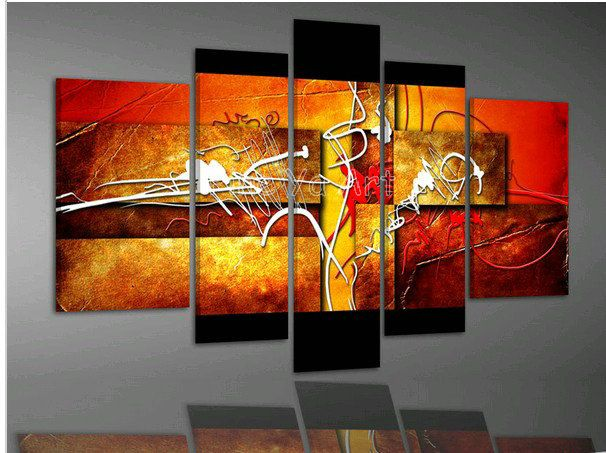 2014 new 5 piece modern wall canvas handmade abstract Picture orange art oil painting on canvas for living room decoration