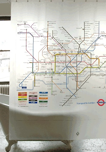 Tube Map Shower curtain