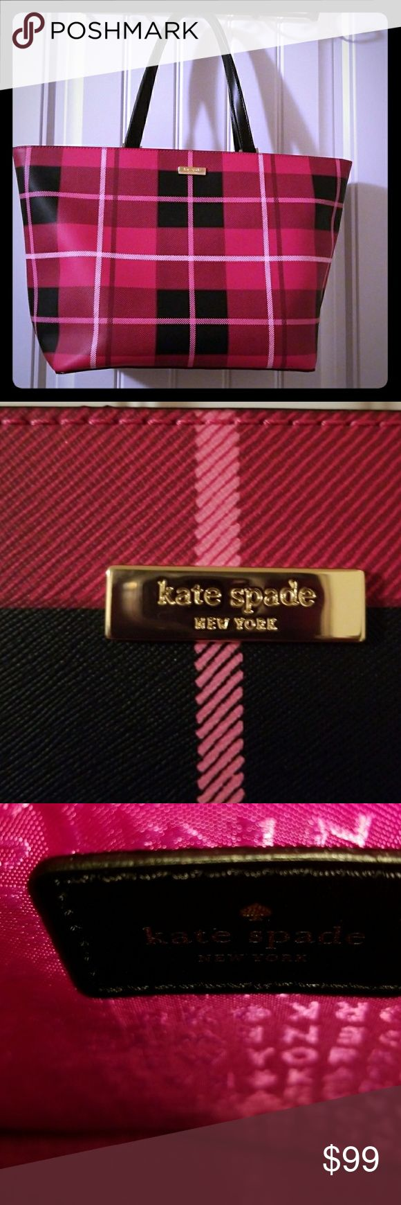 Kate Spade Tote The Katr Spade cutest pink and black  plaid tote bag, hot pink lining, with KS signayure lining, used a few times for work but it was a little too small, like new inside and out. kate spade Bags Totes