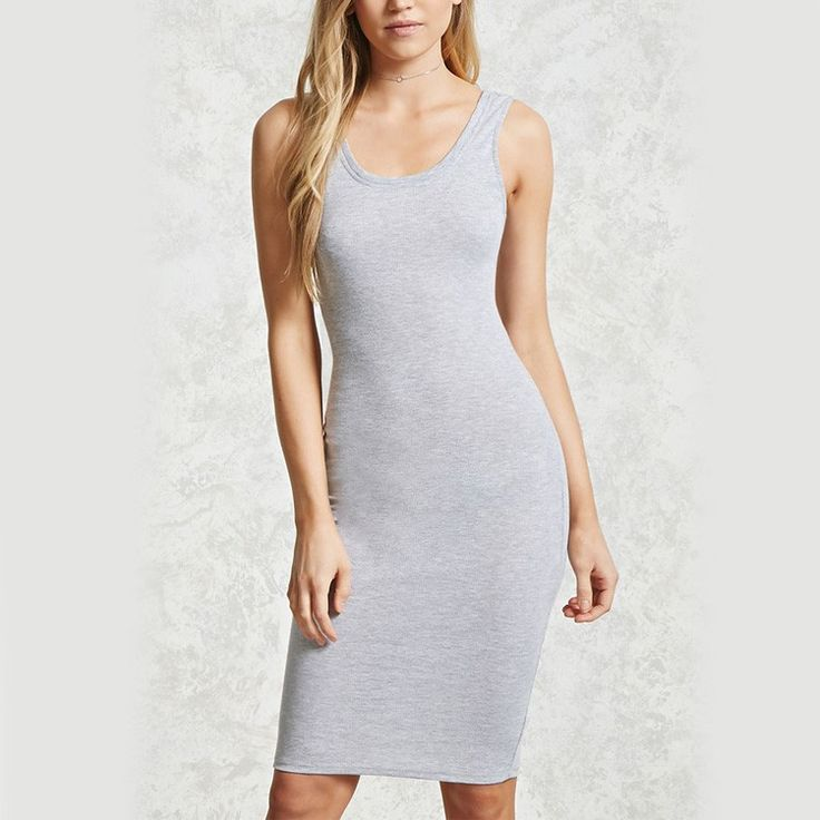 clothing manufacturer low moq women fitted sleeveless grey knit midi bodycon dress