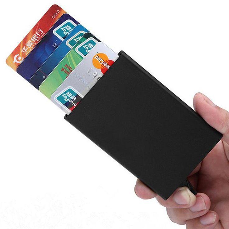 Hohe Qualität Automatische Visitenkartenhalter Metall Kreditkarteninhaber Rfid Sperrung Aluminium Dünner ID Karte Brieftasche für Männer 2017