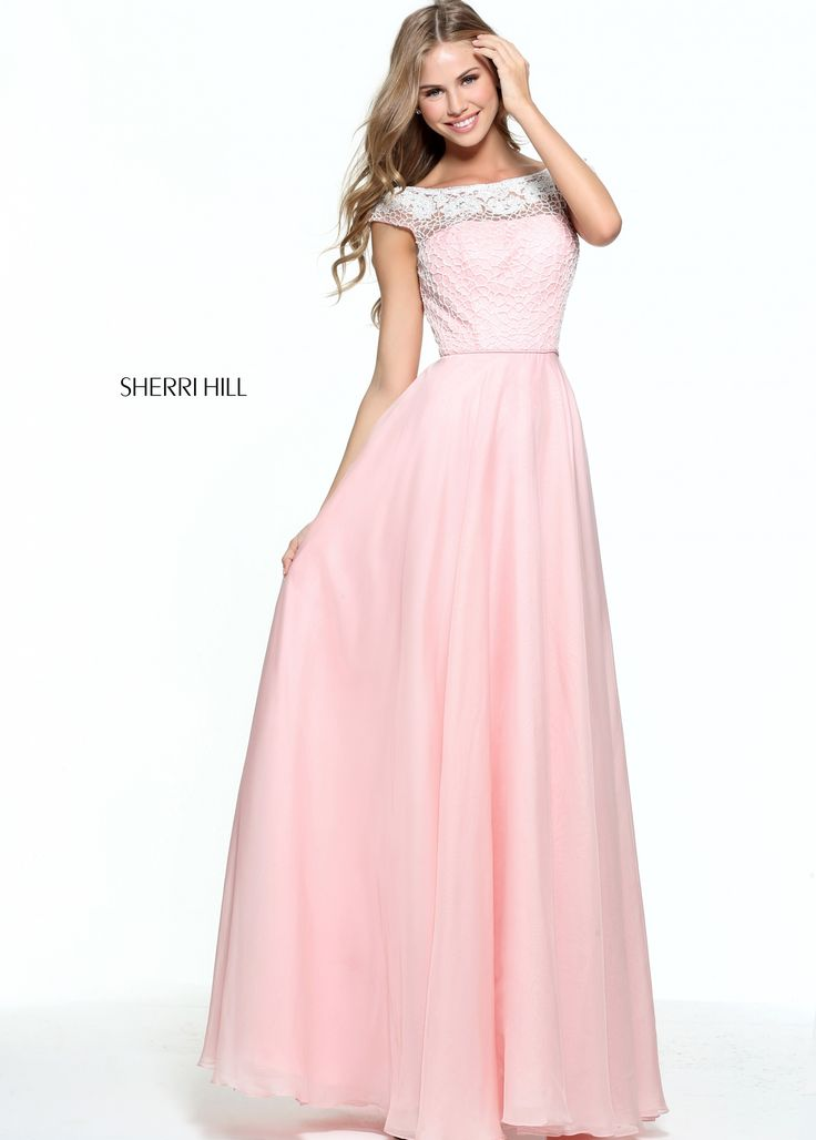 The illusion Sabrina neckline atop the embroidered bodice of this Sherri Hill 51075 cap sleeved prom dress is embellished with floral lace appliques. This gown features an illusion V-back and the layered full-length skirt completes the A-line silhouette.