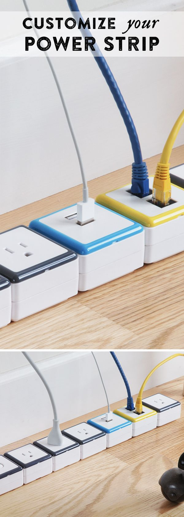 Configure these power strips to have exactly the number and kind of outlets you need. It's as easy as snapping on or removing modules.
