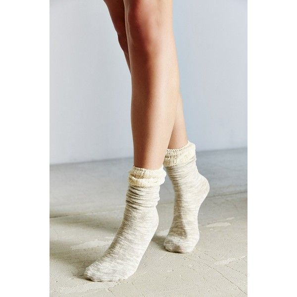Crochet Cuff Slouchy Sock ($14) ❤ liked on Polyvore featuring intimates, hosiery, socks, grey, gray knee high socks, gray socks, slouchy socks, extra long socks and extra long slouch socks