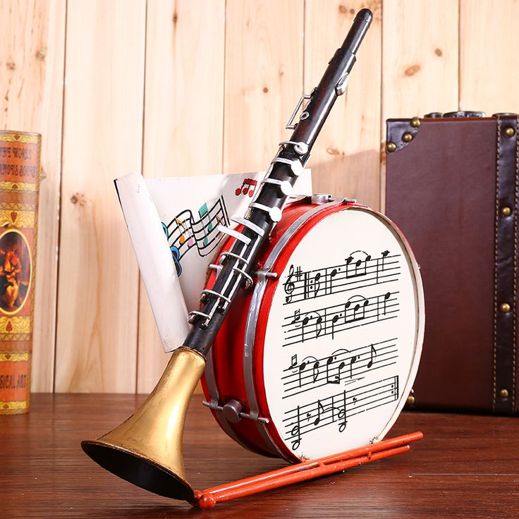 Vintage instrument suona horn drum wine barrel model Home Furnishing living room cabinet Decor iron crafts ornaments #Affiliate