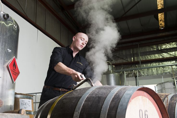 Steaming Australian red wine barrels