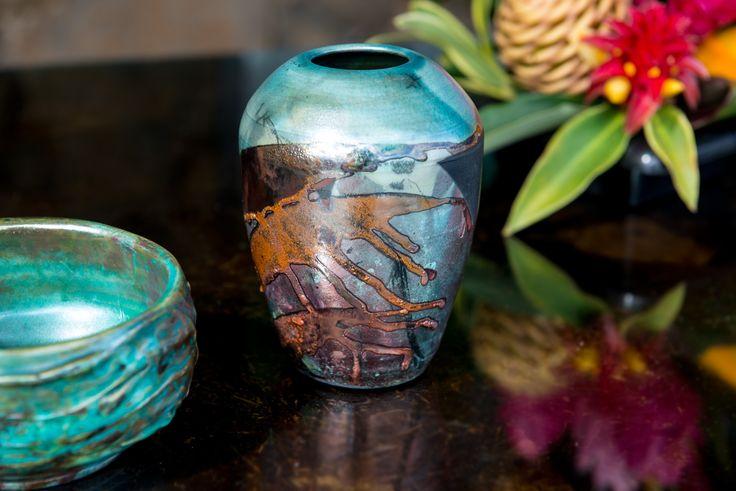 Kauai ceramic artist Kathleen Bryan's raku fired pottery. Made in Kalaheo, Kauai.