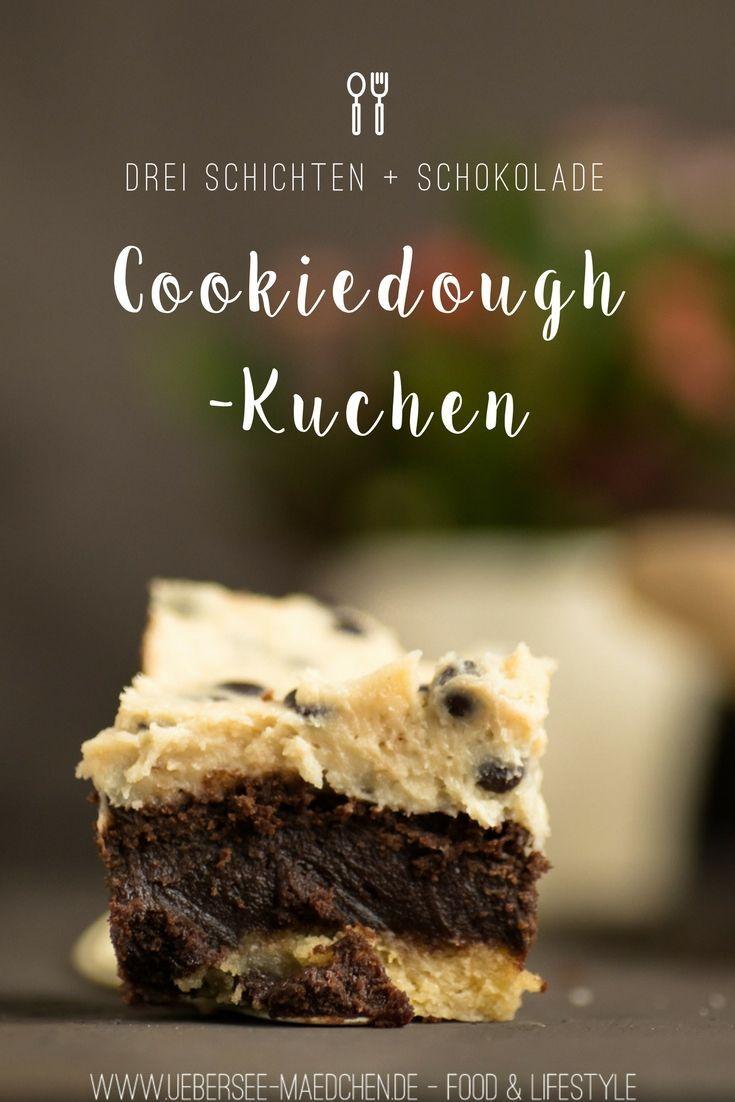 Cookiedough-Kuchen mit Brownie-Schicht Rezept aus der Lecker Bakery mit roher Keksteig von ÜberSee-Mädchen Foodblog Bodensee Überlingen | Recipe for Cookiedough-Cake with three layers: Cookie, Brownie and Cookiedough