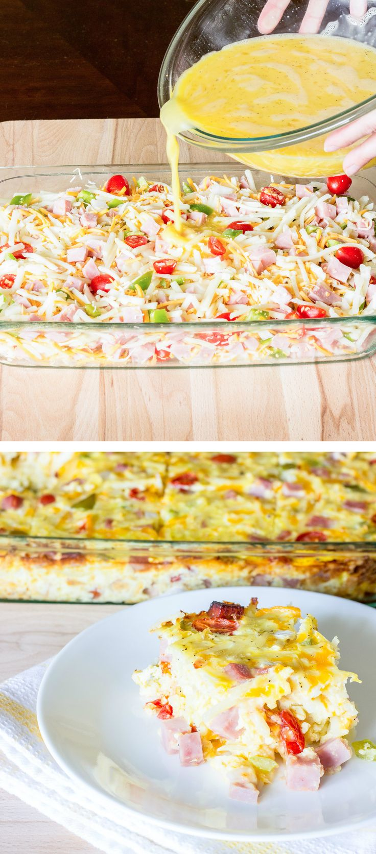 In this easy breakfast casserole, eggs are poured over hash browns, bell pepper, onion, tomato, garlic, and cheese; then baked.