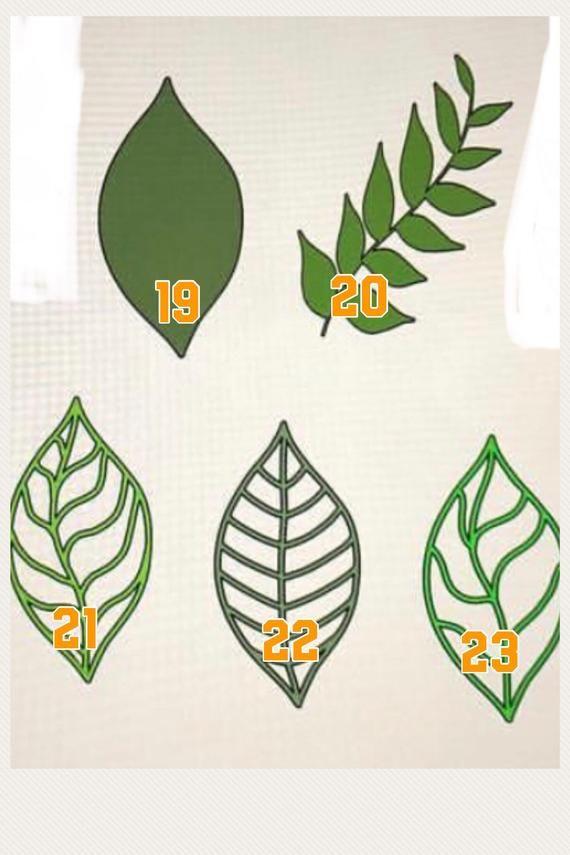 Paper Flower Leaves Stem Leaves Vines Paper Leaves Leaf Set