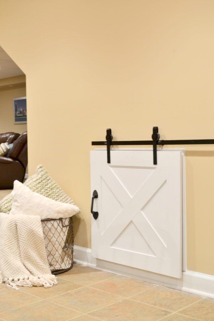 DIY Crawl Space Barn Door...from plywood! Full tutorial for barn door and DIY Hardware