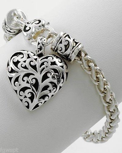 New Brighton Bay Premier Antique Silver Filigree Heart Charm Bracelet | eBay