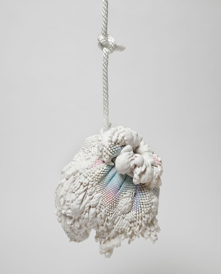 """Swell"" Vase, 2011    Fabric, expanding polyurethane foam, glass and rope. Kai Tsien and Chen Chen"