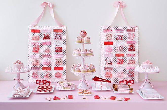 Red and pink Amy Atlas dessert table.