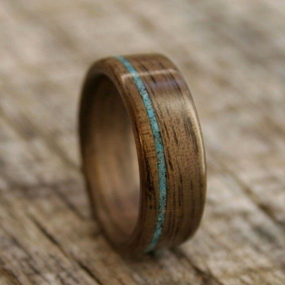 Wooden Ring Walnut Bentwood Ring With Offset Turquoise