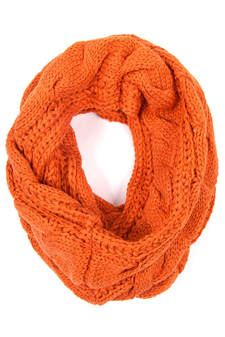 Knitting Pattern Football Scarf : This lovely orange infinity scarf features a cable knit pattern. Football i...