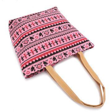 Women Bohemia Canvas Bags Casual Simple Handbags Large Capcity Shopping Bags - US$7.14