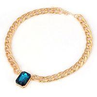 Kalung Korea Blue Square Gemstone KN10624
