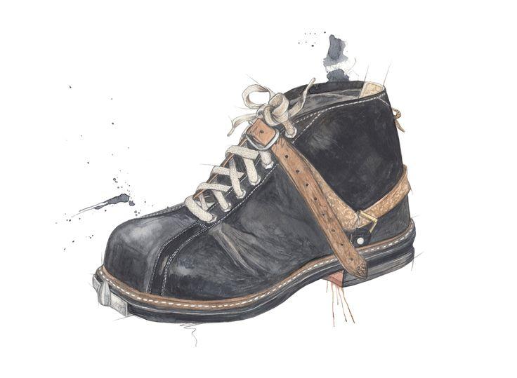 """Beksømstøvel"" (Norwegian vintage ski boot) Copyright: Emmeselle.no illustration by Mona Stenseth Larsen"