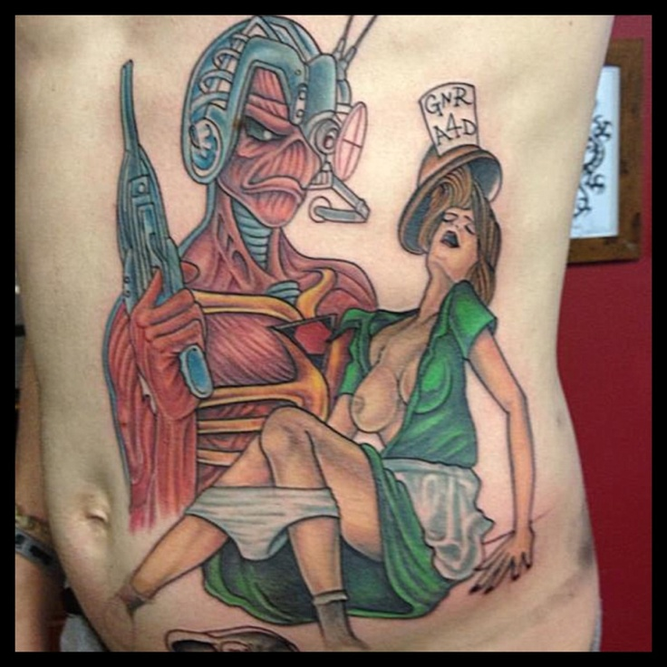 Banned guns n roses album cover tattoo and Eddie from iron maiden