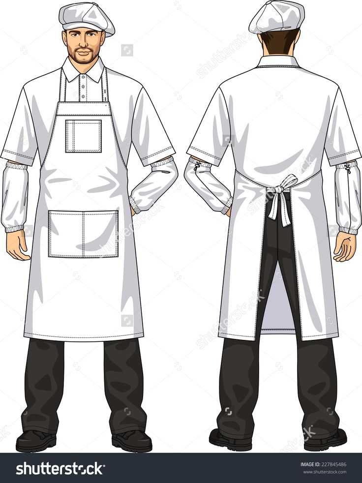 The suit for the man consists of an apron and a beret
