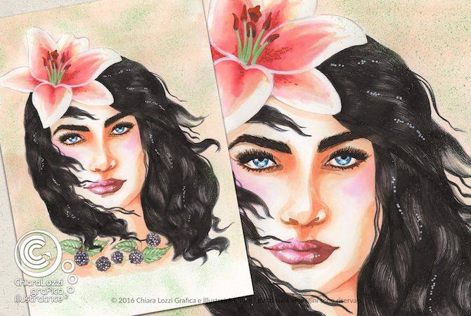 Mesi Illustrati: Agosto #visodidonna #ritratto #illustrazione #bellezza #fiori #frutti #foglie #mesidellanno