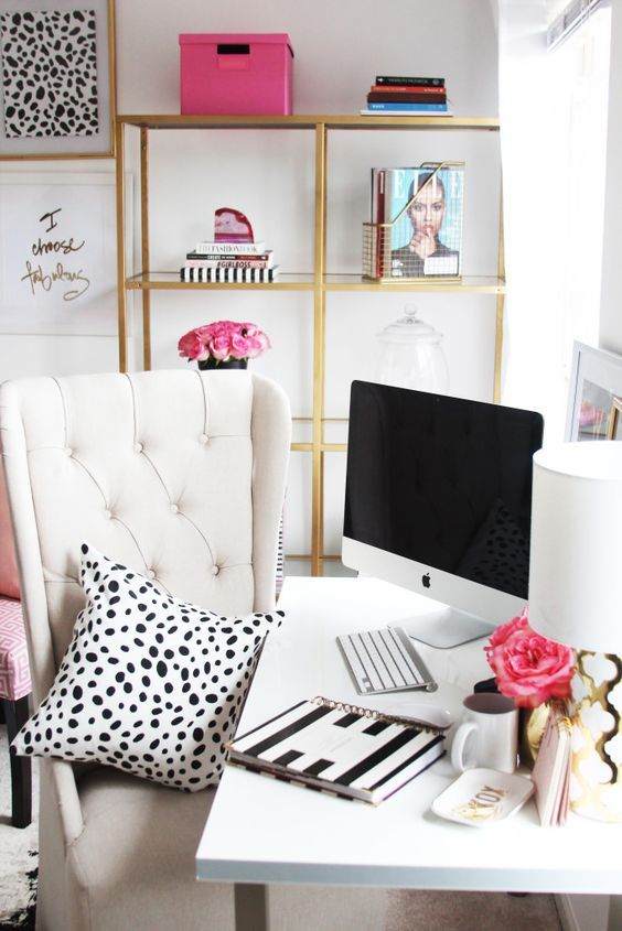 cool office decorations. Meagan Ward s Girly Chic Home Office  Tour Best 25 Cool office decor ideas on Pinterest shelving