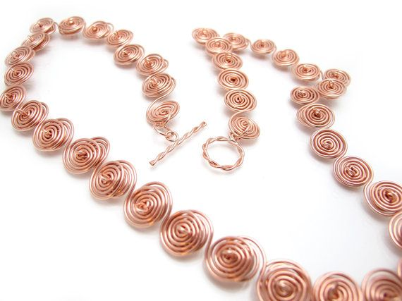 Twisted Copper Necklace Spiral Copper by leanderdambrosia on Etsy