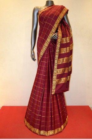 Classic Checks Pure Mysore Crepe Silk Saree      Product Code: AC205074