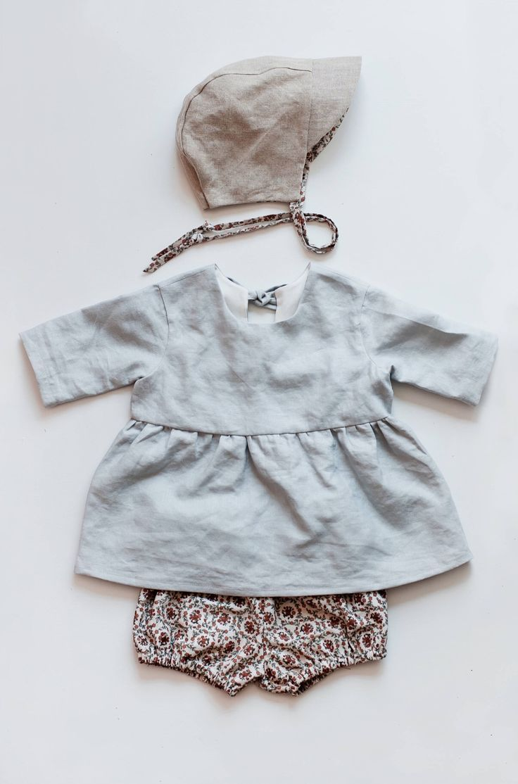 Handmade 3 Piece Linen & Cotton Baby Outfit | Gypsyandfree on Etsy