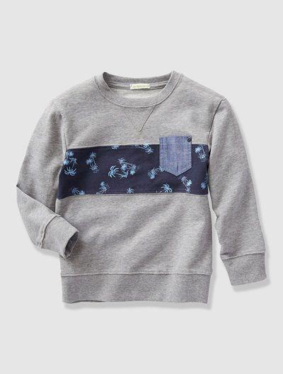 Sweatshirt für Jungen GRAU/STREIFEN