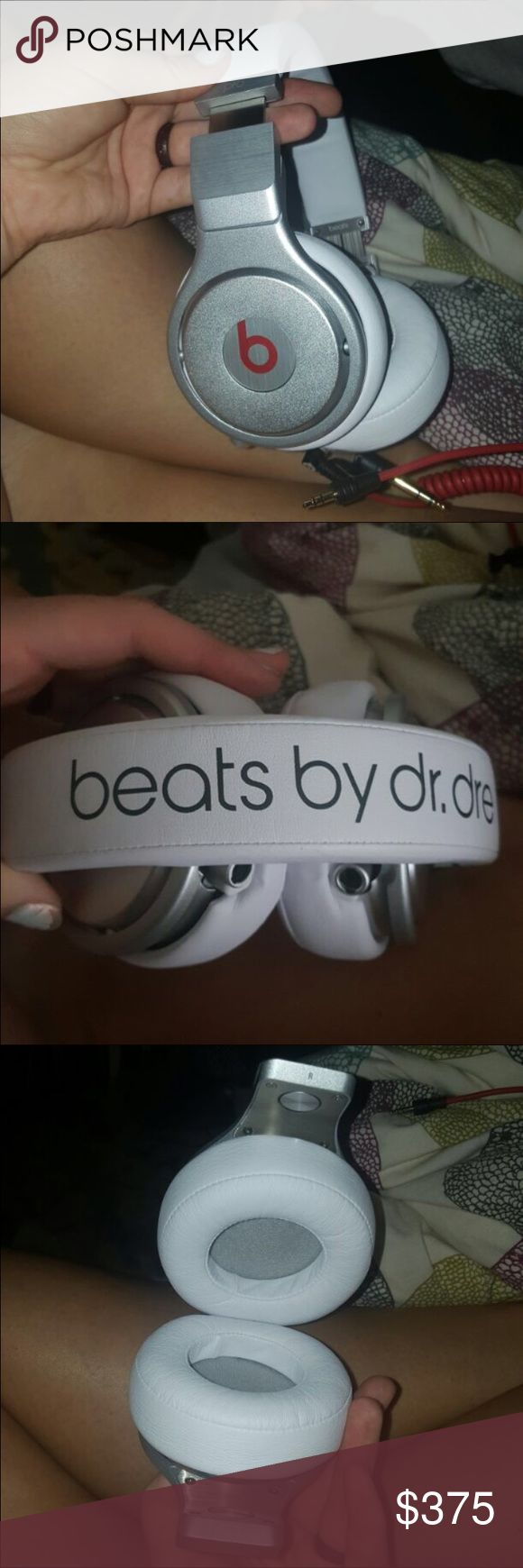 Silver Dr Dre Beats Pro Headphones Very minor ware, only used a handful of times. Work fabulously. No cord. Beats by Dr. Dre Other