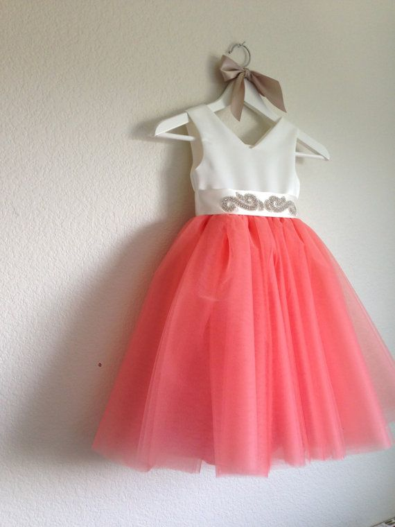Coral flower girl /The Tiffany Dress / Tulle Flower Girl Dress / by MiaLorenBoutique, $189.99