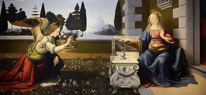 La Anunciación Obra De Leonardo Da Vinci 1475 Uffizi Florencia Annunciation Leonardo Annunciation Da Vinci Painting