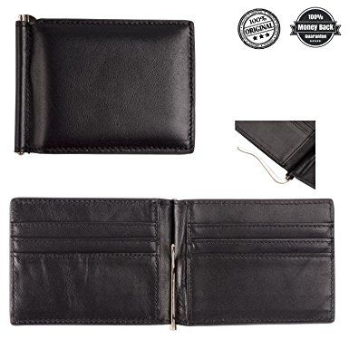 Leather Money Clip Wallet Card Holder With Metal Clip Inside For Men and  Women Review 960608035b