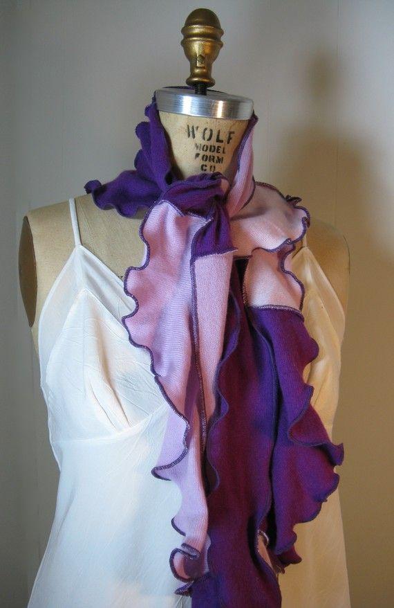 2 Purpur Kaschmir Volant-Schal von von devilmademedoit auf Etsy