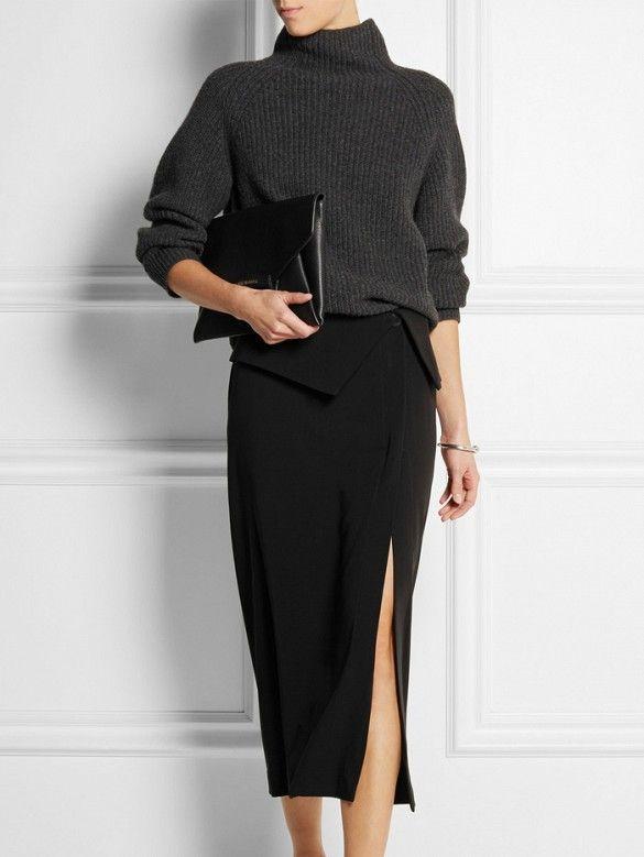 Dion Lee Crepe Midi Skirt in black with slit