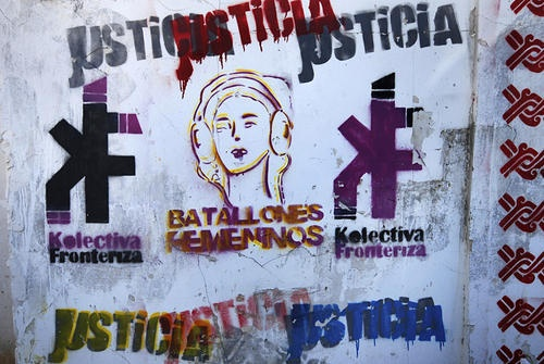 """Activist Susana Molina and her collective put up their own graffiti images to counteract the violent ones"""