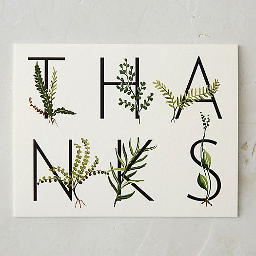 Fern Thank You Card Nice way to put thanks on a card but spacing between the k and s looks out of balance compared to the rest. Reminder to check kerning and adjusting overall balance when using other elements. Maybe the larger fern graphic on the n should have been swapped with the skinny fern on the s to balance the space between letters