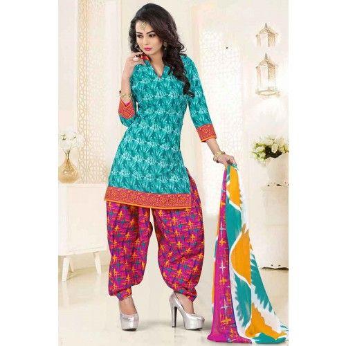 SKY BLUE POLY COTTON PATIALA SALWAR KAMEEZ Price - £31.00 #IndianDressesUK #FashionUK #PatialaSuitUK #DesignerDressesUK #ShopkundUK