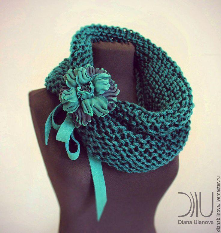 Купить Шарф хомут3 - комбинированный, красивый шарф, необычный шарф, теплый шарф, шерсть, акрил