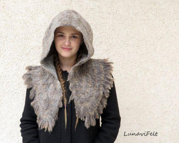 Felted hood, wool viking hood, LARP, living history, fairy, nordic reenactments.