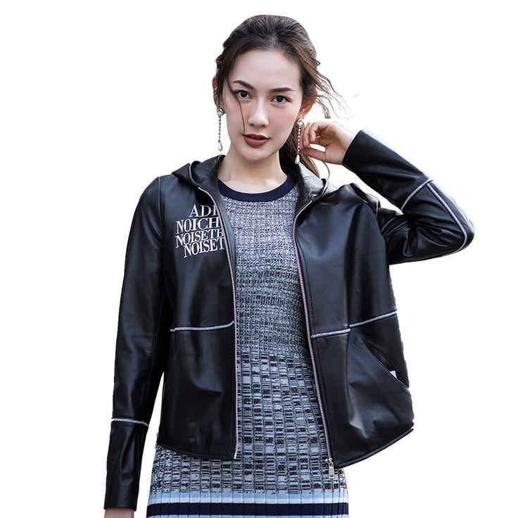 Ptslan Women real Leather Motorcycle Jacket hooded 2017 Autumn Fashion Female Leather Jacket Outwear genunine lambskin