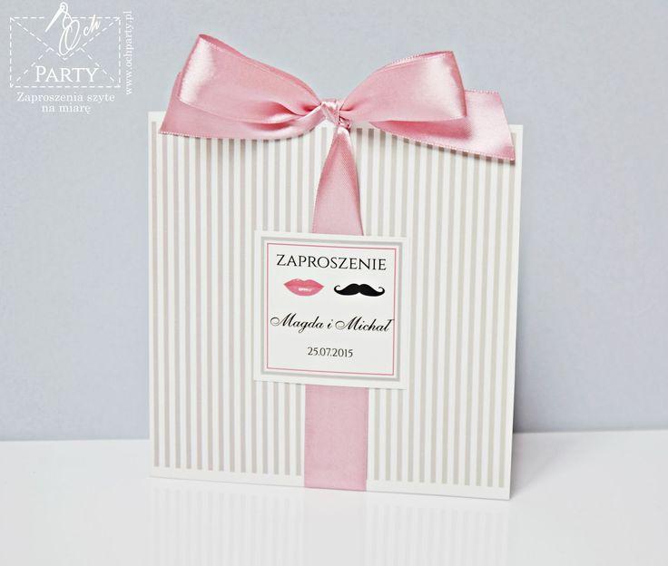 Papeteria szyta na miarę: Zaproszenia ślubne Wąsy Usta z pudrowym różem #zaproszenia #zaproszenianaslub #zaproszeniaslubne #slub #weeding