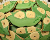 Two Peas in a Pod Decorated Sugar Cookies Baby Shower Cookie Favors Baby Shower For Twins $16