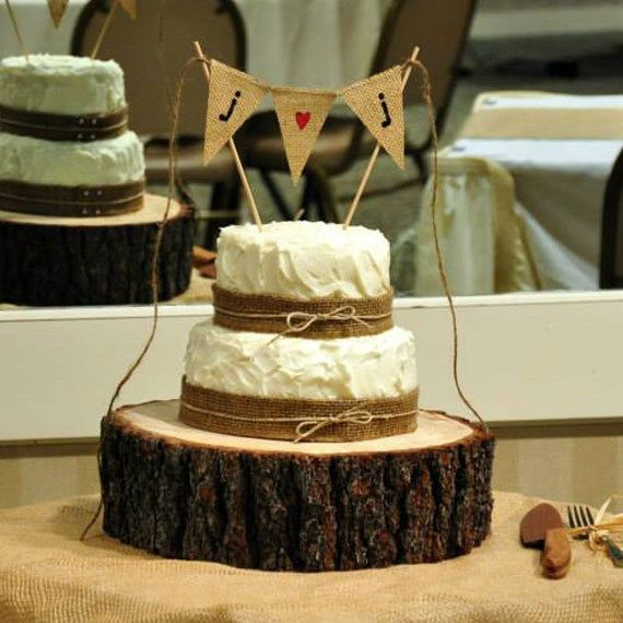 Burlap Banner Cake Topper with Initials