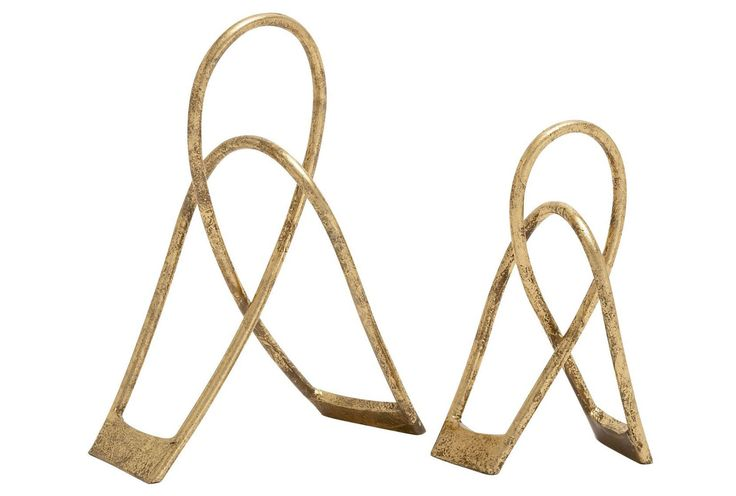 2 Piece Set Gold Metal Structures