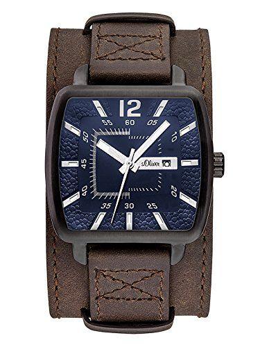 s.Oliver SO-3048-LQ - Reloj para hombres, correa de cuero color marrón