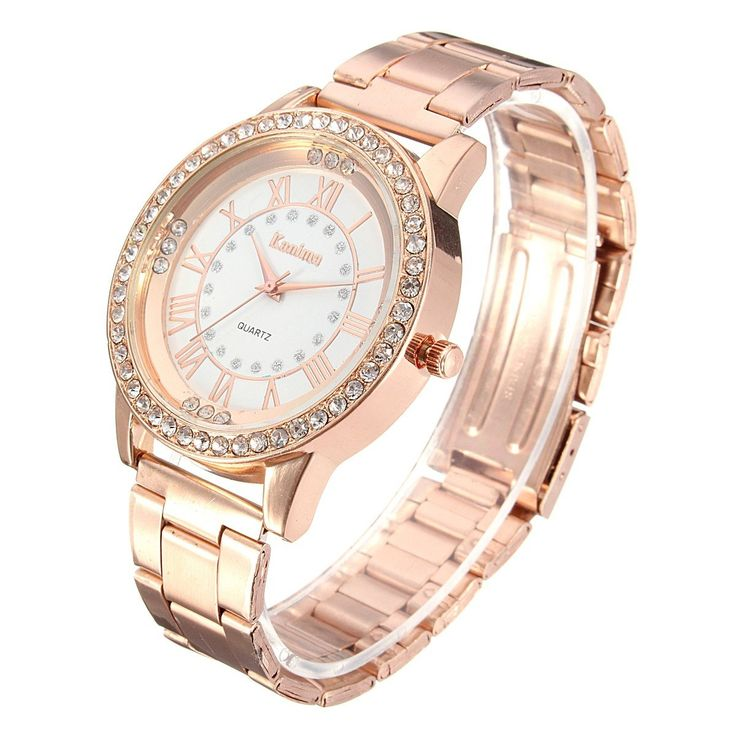 Men Women Crystal Rhinestone Plated Stainless Steel Analog Quartz Wrist Watch With Logo at Banggood