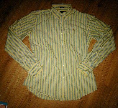 Women's Ralph Lauren Polo Slim Fit Yellow Stripe Long Sleeve Oxford Shirt Size 8